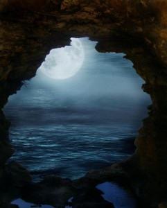 full moon in cave