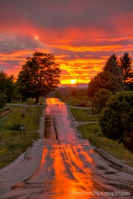 amazing sunset on road