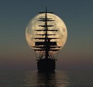 full moon with shiip