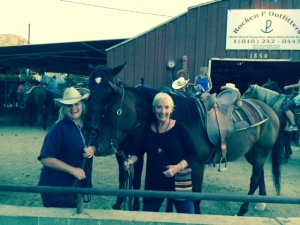 linda and shell on horses